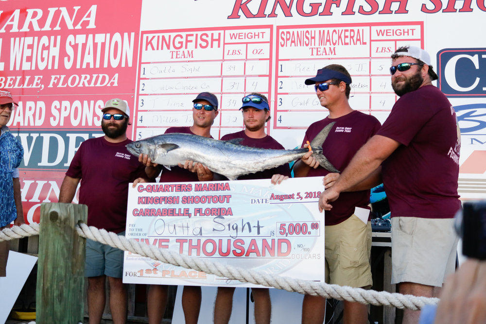 These guys of team Outta Sight caught the largest King Fish of the tournament weighing in at 39.1 lbs. If you would like to see the rest of the competitors and their big catches follow the link below.  http://www.c-quartersmarina.com/index.html