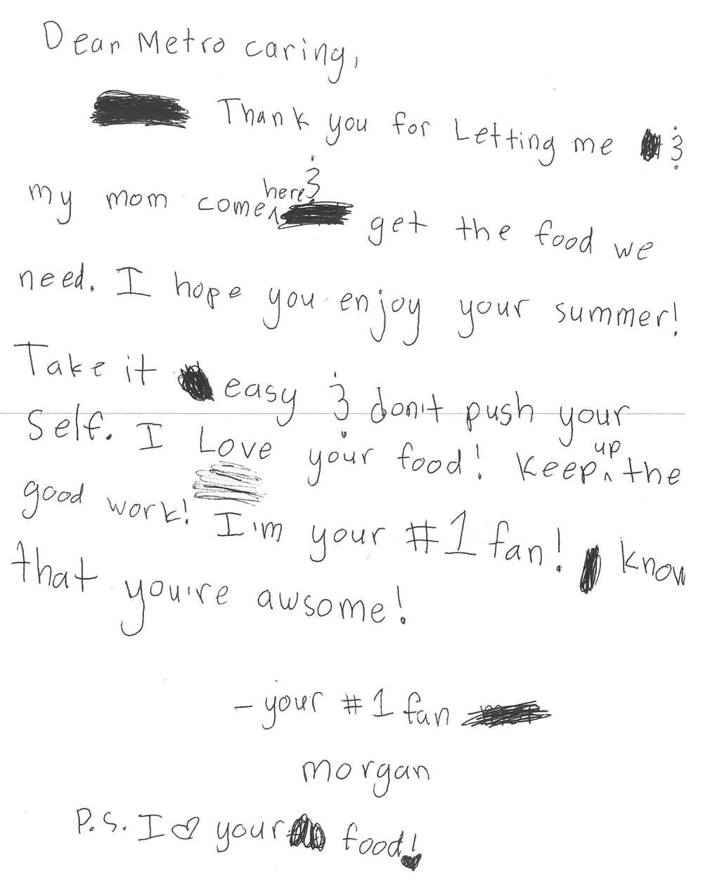 Letter from Morgan, July 2017