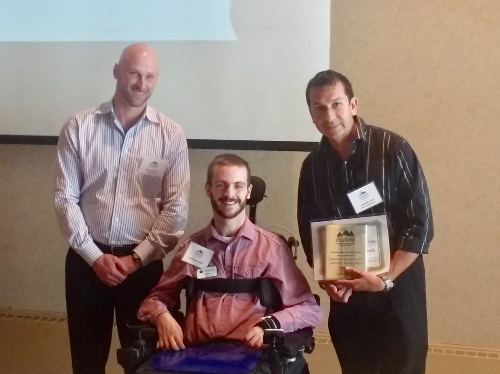 Justin receiving the Colorado Academy of Nutrition and Dietetics Award for Dietetic Technician of the Year