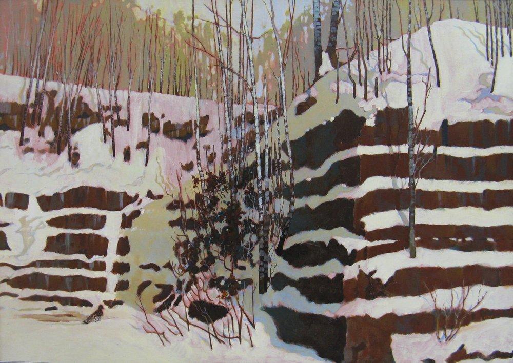 Bob Crump, Brownstone Quarry, Acrylic on Canvas, 1983