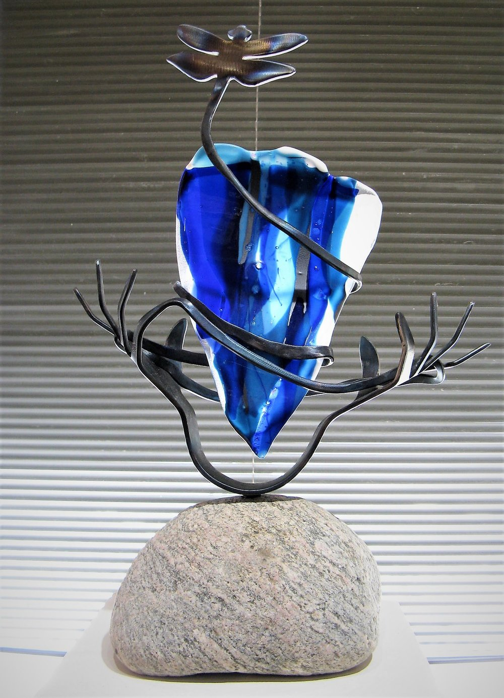 """Living Water Series"" - steel, stained glass, stone - by Sara Balbin"