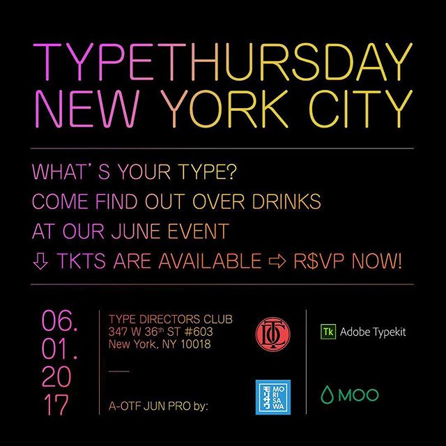 What's your type? Join us for drinks at our June event hosted at @typedirectorsclub . General RSVPs are currently on sale now through 05/25.  Last Minute RSVPs tickets sales will kick in after 05/25 and will last till 06/01. . If you will NOT be able to attend, please cancel your RSVP on Eventbrite. You may also reply to ravi@typethursday.org and let him know. Also, be assured for paid RSVPs, refunds are given if a cancellation is received prior to the start time on the day of the event. . Re. the type crit, as of writing this there are 3 spots open. Feel free to send your work anytime using our handy and secure online form seen below. Type Crit submissions are on a first come, first serve basis. https://www.eventbrite.com/e/typethursdaynyc-tickets-26502141619?aff=eac2 https://form.jotform.com/60994715874168 . . . . . #typeverything #typography #lettering #calligraphy #NYC #newyorkcity #typedirectorsclub #tdc #morisawa #AOTFJUNPRO #moo #typekit #graphicdesign #font #fonts #design #typespire #type #design #ux #ui