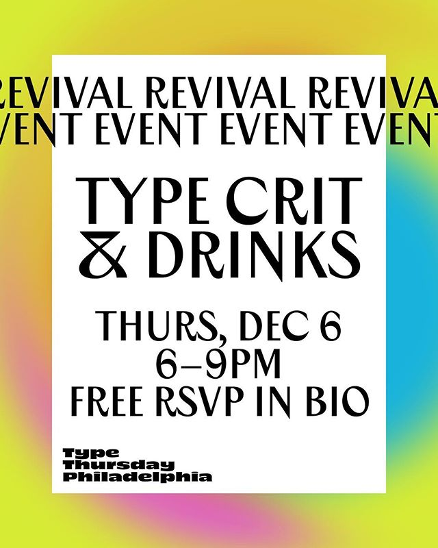 TypeThursdayPHL, the popular monthly event series for type geeks returns December 6 at Fork Spoon! We like to think of ourselves as a type superfamily: we attract local letterform lovers hailing from all disciplines and levels of expertise. Social hours bookend the centerpiece of our event, a group critique we refer to as Type Crit. RSVP for FREE today with the link in the bio. We are still accepting submissions of typefaces, book covers, posters, ui/ux designer or any genre of type-related work for the Type Crit portion of the event, please use the link in the bio or DM for more information!  See you soon Philly!