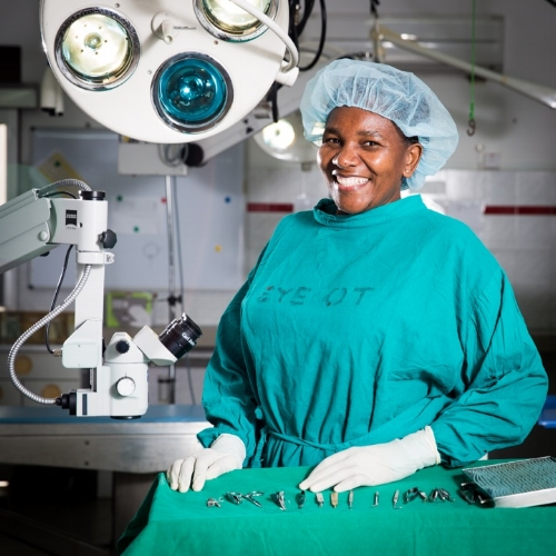 A member of the CCBRT team preparing for surgery.                   Photo credit: Sala Lewis