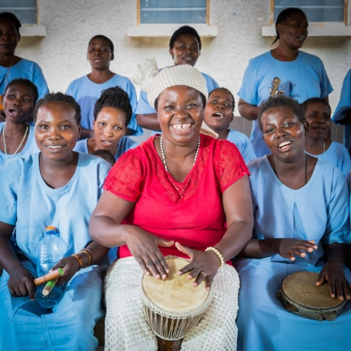 Music therapy sessions with women recovering from obstetric fistula.                 Photo credit: Sala Lewis