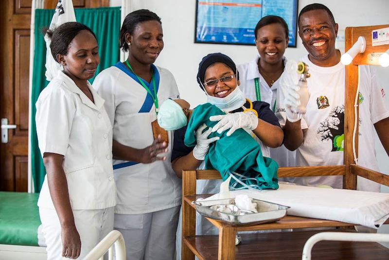 Sister Intisar and team practicing safe newborn resuscitation. Photo Credit: Sala Lewis