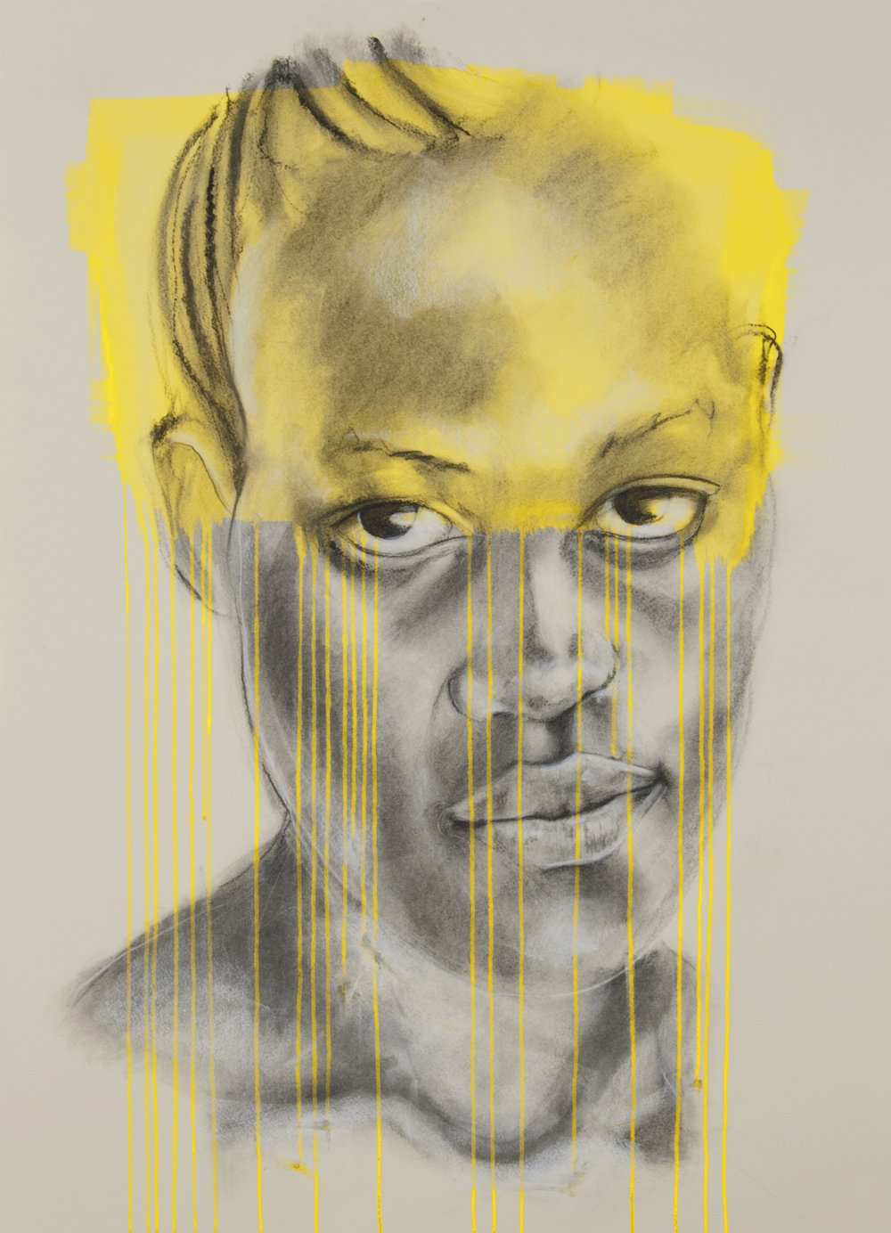 'Yellow', charcoal and ink, Jac Saorsa 2015