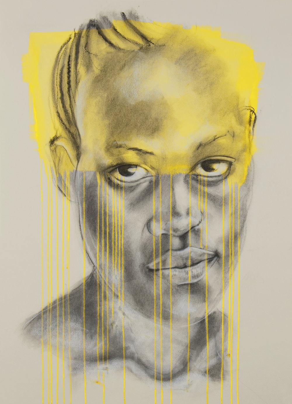 'Yellow', charcoal and ink, Jac Saorsa 2015