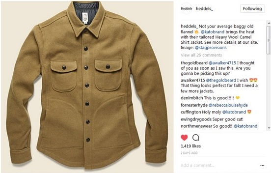 Thank you for picking up Heddels and Stagprovisions!! This Shirt Jacket is constructed of three panels, the Heavy Wool Shirt jacket is built to fit like a glove. Finished with military buttons, flap and slash pockets at the front. Please check Stagprovisions website!
