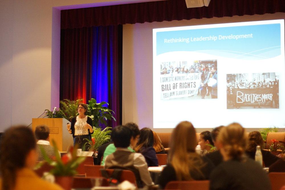 Deborah Meehan gives presentation during the Kravis De-Roulet annual conference.