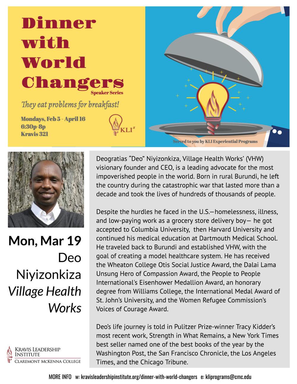 3/19 Dinner With World Changers - Deo Nivizonkiza