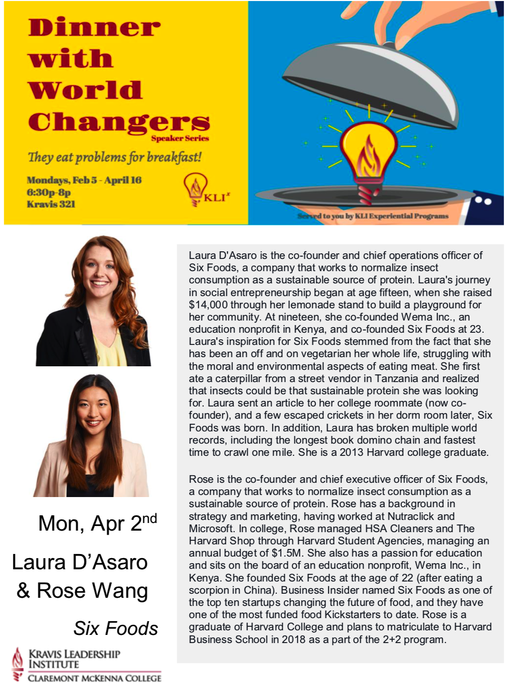 4/2 Dinner With World Changers - Laura D'Asaro and Rose Wang