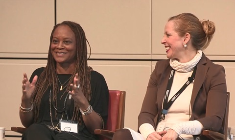Tracy Gray (left) during the keynote lunch panel at the 26th Kravis-de Roulet conference.
