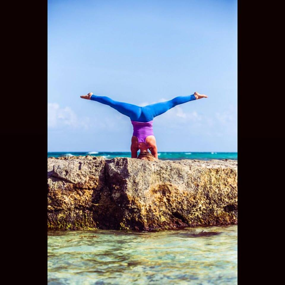 Mary is headstand and splits in Tulum Mexico blue pants.jpg