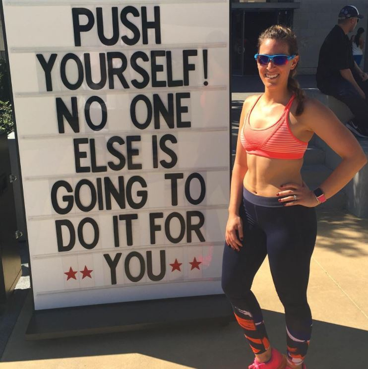 Ari- Orange Sport Bra Push Yourself Quote.JPG