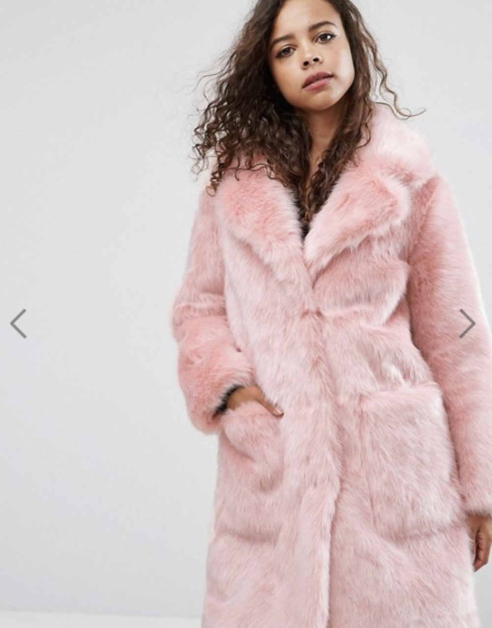 ASOS Petit Midi Coat - in Plush Fauz Fur