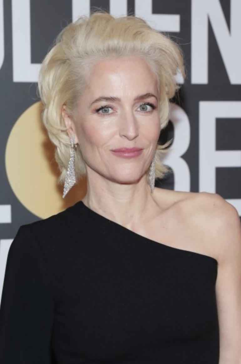 Gillian Anderson  - I am into this platinum on her, as well as this feathered brow and the PANK lip. I am honestly thinking she has never looked chicer!