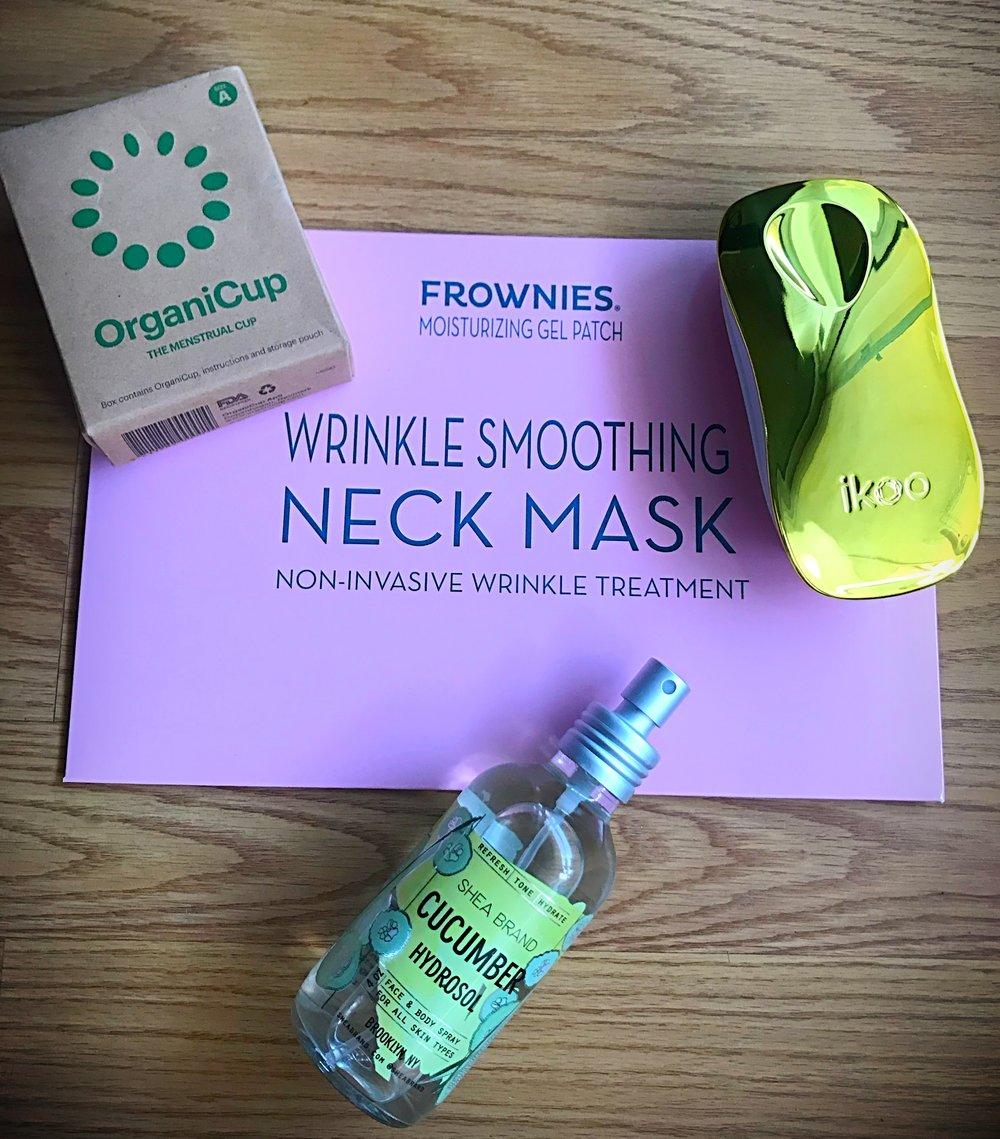 OrganiCup, Frowines Neck Mask, Ikoo hairbrush, Shea Brand Cucumber Hydrosol