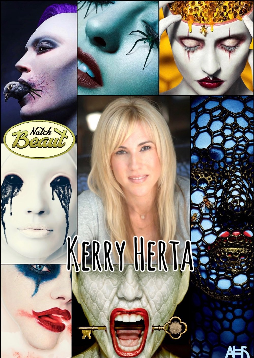 Special effects makeup artist Kerry Herta and some of her looks for American Horror Story ads..