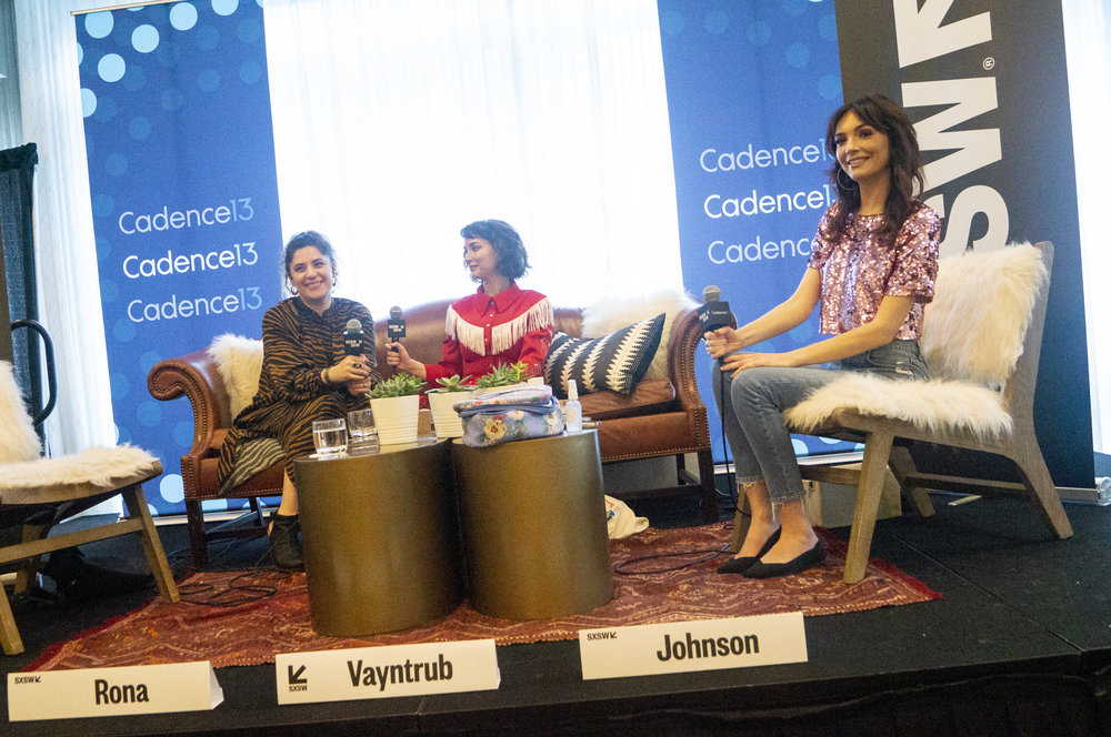 Jess Rona, Milana Vayntrub, and Jackie Johnson on the SXSW podcast stage.