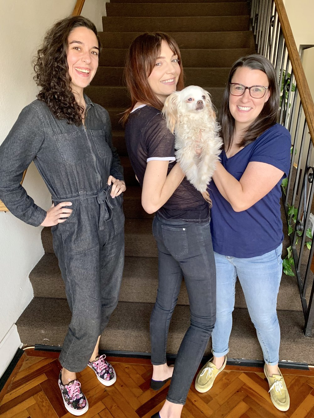 Jackie and Chooch with the hosts of the Bechdel Cast, Jamie Loftus and Caitlin Durante.