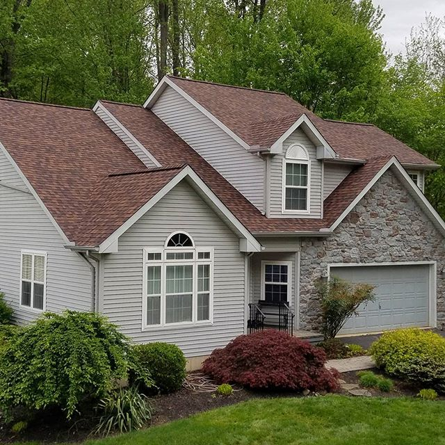 "Roof replacement we did in Wilmington, DE using Certainteed Landmark Pro 50-year dimensional shingles in the color ""Burnt Sienna"" for $8,600"