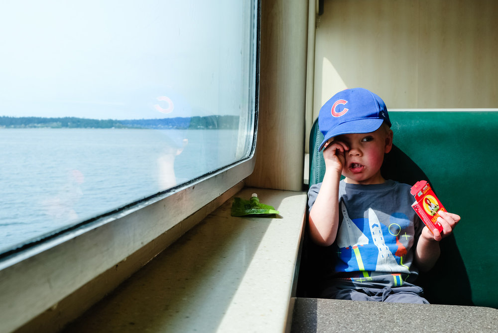 sleepy toddler on ferry