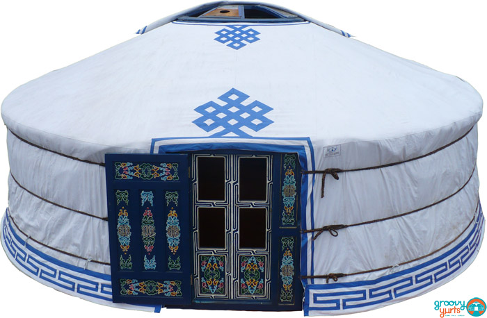 """5-WALL"" – 19′ YURT - $7,5005-wall Mongolian yurt, complete with high quality felt insulation and hand painted wood structure, decorated water resistant canvas, all necessary ropes and linings, double window door frame, basic vinyl covering of half of the tonoo (top window)diameter: 19 feet (5.8m)walls height: 5 feet(1.5m)height in center: 7 1/2 feet (2.3m)dimensions might vary slightly"