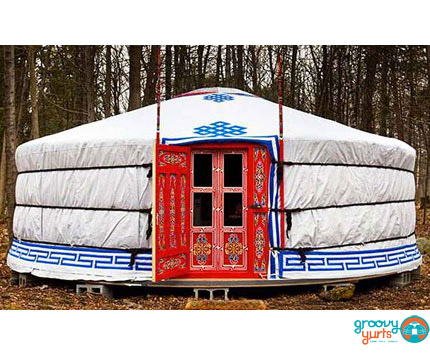 """ 6-WALLS""-21′ YURT - $8600Complete with high quality felt insulation and hand painted wood structure, decorated water resistant canvas, all necessary ropes and linings, a double window door frame, a vinyl covering on half of the tonoo (top window)diameter: 22 feet (6.6m)walls height: 5 feet 1(1.6m)height in center: 8 feet (2.45m)dimensions might vary slightly"