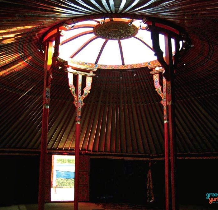 """12-WALLS""-40′ YURT - $34,400Complete with high quality felt insulation and hand painted wood structure, decorated water resistant canvas, all necessary ropes and linings, a double window door frame, a plexiglas covering on half of the tonoo (top window)diameter: 40 feet (12.5m)walls height: 6 1/2 feet 1(2m)height in center: 11 1/2 feet (3.45m)dimensions might vary slightly"