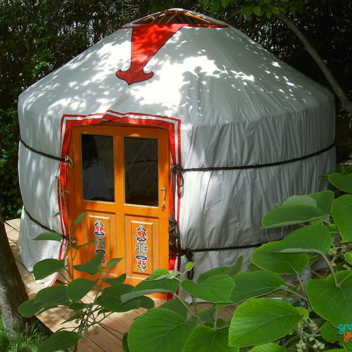"""2-WALL"" – 8′ YURT - Complete with high quality felt insulation and hand painted wood structure, water resistant canvas, all necessary ropes and linings:diameter: 8-9 feet (2.5m)wall height: 4 feet (1.2m)height in center: 6 feet (1.8m)dimensions might vary slightly"