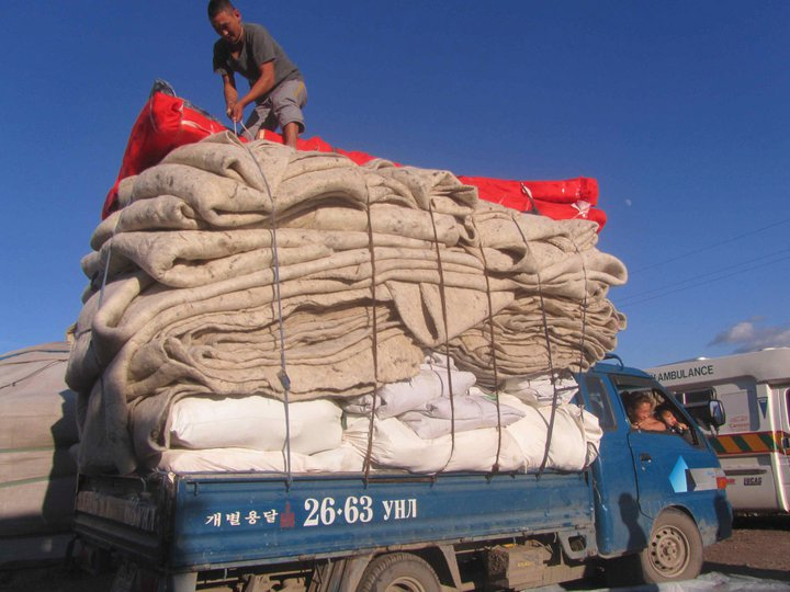 Truck fully loaded in Mongolia