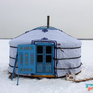A yurt being used on the lake for ice fishing