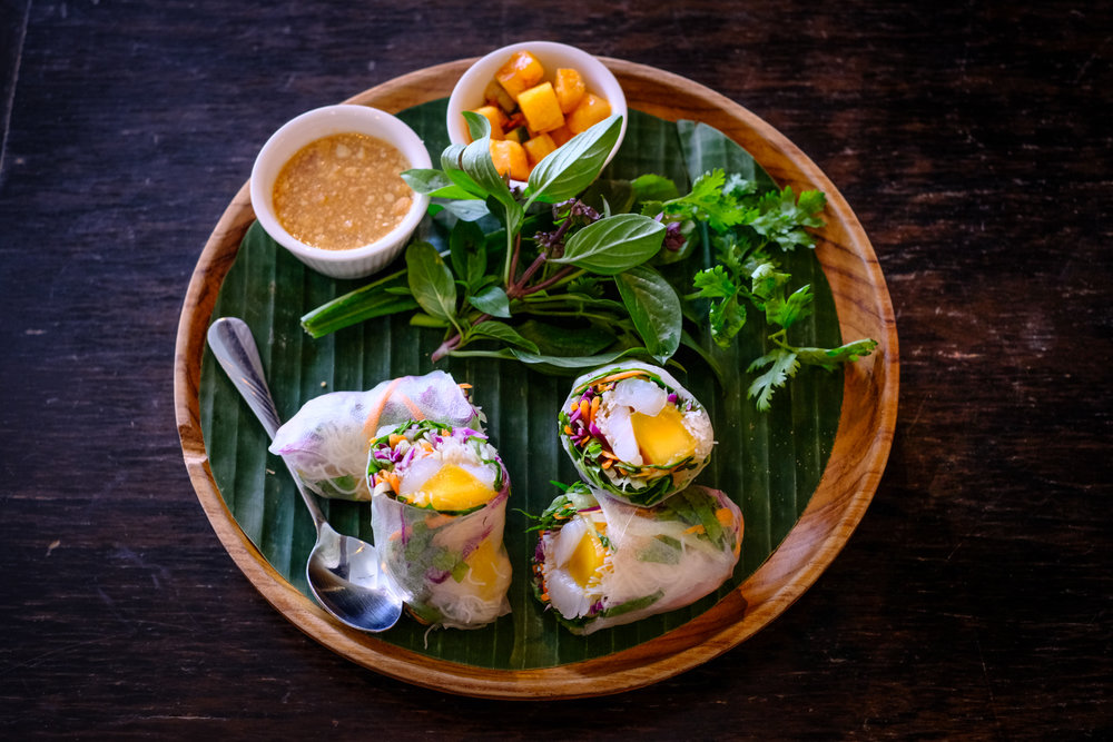 Fresh Spring Rolls with Mango, Fresh Herbs and Vegetables