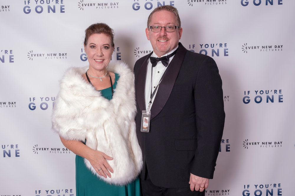 """Susan Willis with her husband at the """"If You're Gone"""" Red Carpet Premiere at the Park Theater in McMinnville, TN."""