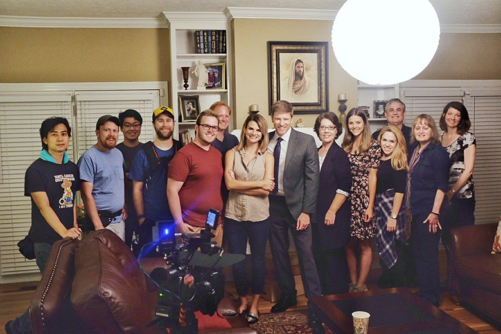 """Cast and crew of """"If You're Gone"""" from left to right: Jiayao Chen, Tripp Green, Michael Huang, Jacob Briggs, Matthew Hayes Hunter, Richard Chilton, Brittany Goodwin, Burgess Jenkins, Susan Willis, Masey McLain, Katie Hahn, Mark Dixon, Susan Fulkerson, and Stephanie Cardel. Photo by John Goodwin."""