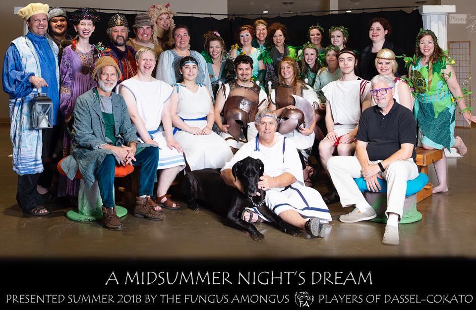 A Midsummer Night's Dream - by William ShakespeareDirected by David MetcalfJune 2018Pictured from Left to Right: (Front) Terry Moore, David Metcalf (Middle) Ron Hungerford, Isaac Olson, Naomi Coyle, Harry Lantto, Jaclyn Rose-Thorston, Noah Coyle, Kacie Carlstad (Back) Tom Johnson, John Dufresne, Sara Cronk, Nate Metcalf, Tom Nelson, Nate Byrne, Lisa Kotila, Amanda Byrne, Heather Halstead, Neal Hungerford, Caroline Cronk, Alex Bunker, Robert Bunker, Hannah Bunker, Elisabeth Nelson, Becky Hungerford (Not Pictured) Jeremy Harris