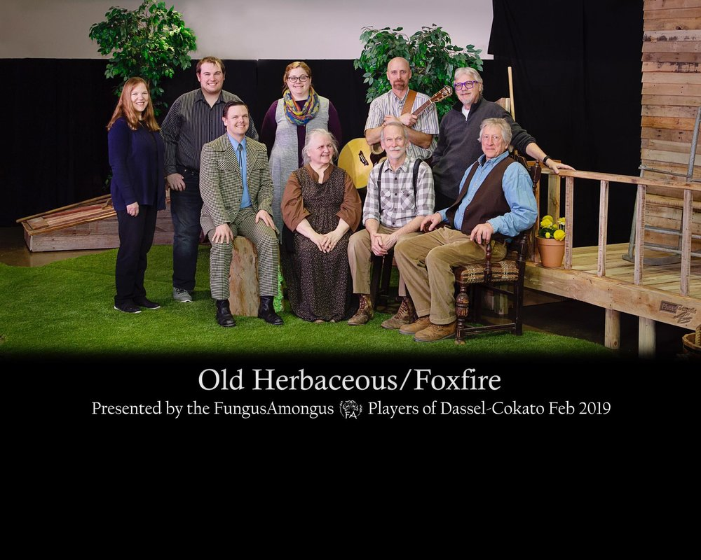 "Old Herbaceous / Foxfire - ""Old Herbaceous"" by Alfred Shaughnessy, novel by Reginald Arkell / ""Foxfire"" script/lyrics by Hume Cronyn and Susan Cooper, music by Jonathan HoltzmanDirected by Kurt Schulz / Directed by David Metcalf""Foxfire"" 2019 AACTFestPictured Left to Right: (Front) Tom Johnson, Linda Metcalf, Ron Hungerford, Kurt Schulz (Back) Becky Hungerford, Tom Nelson, Elisabeth Nelson, Kirk Asplin, David Metcalf"