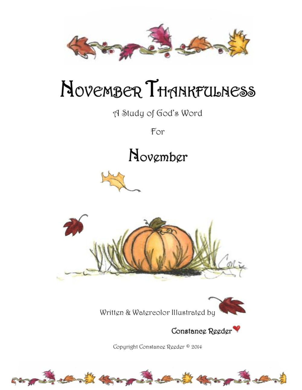 November Thankfulness a Bible Study written and illustrated by Constance Reeder