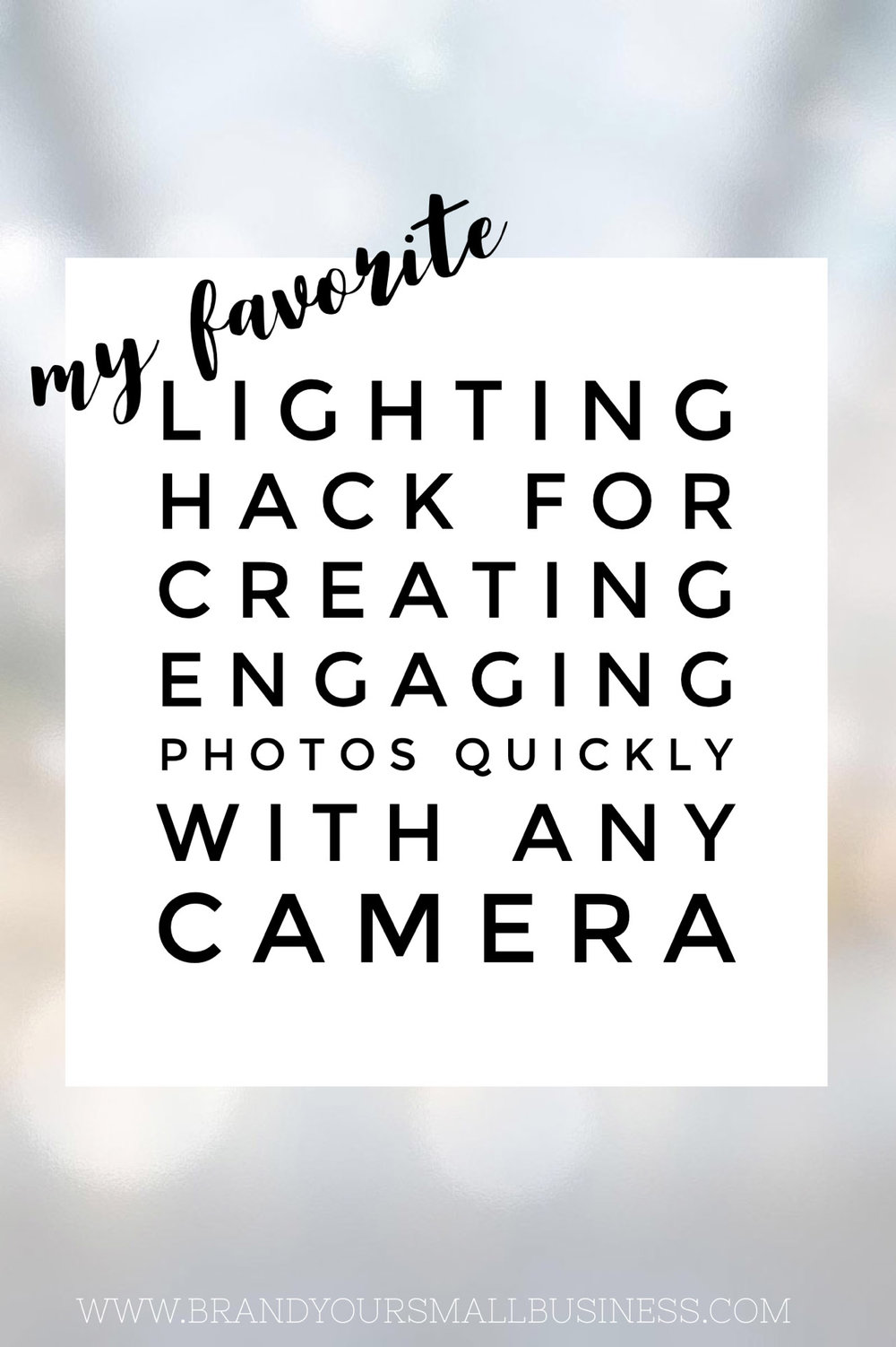 My favorite lighting hack for creating engaging photos quickly with any camera. Great tip for helping entrepreneurs who use Instagram for marketing make their iphone images look more compelling without needing any photography knowledge. www.brandyoursmallbusiness.com