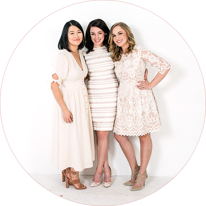 Female entrepreneurs in white dresses for their business branding shoot with Seattle branding photographer Rebecca Ellison. Girl Bosses in Seattle branding their business with Rebecca Ellison.