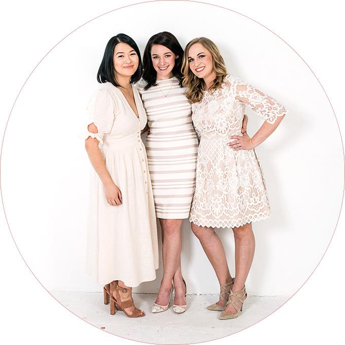 Female entrepreneurs in white dresses for their business branding shoot with Seattle branding photographer Rebecca Ellison. Girl Bosses in Seattle branding their business with Rebecca Ellison.