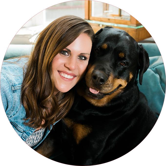 Brunette Business owner with her shop dog for her business branding shot with Seattle branding photographer Rebecca Ellison.
