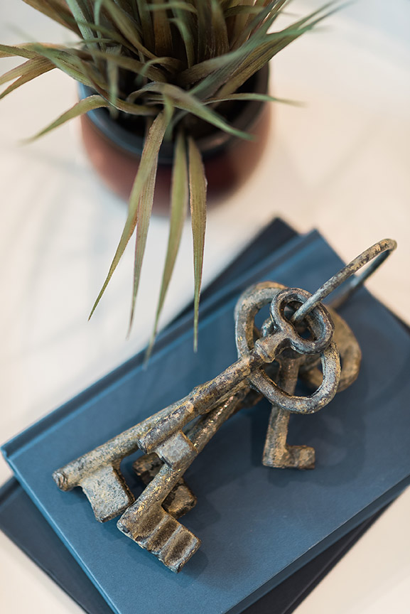 Modern Lifestyle stock image of an office desk with keys on books and a plant from Seattle photographer Rebecca Ellison.