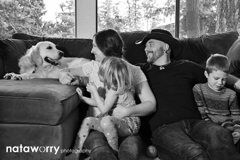 Seattle Branding Photographer Rebecca Ellison at home with her family.