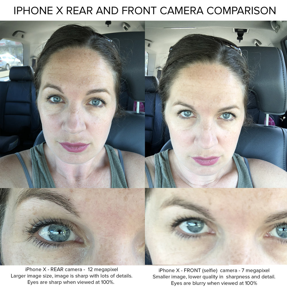 Front and rear iphone camera comparison    iphone photography tips. Why you should avoid using the selfie front facing camera when taking photos for your business  www.brandyoursmallbusiness.com