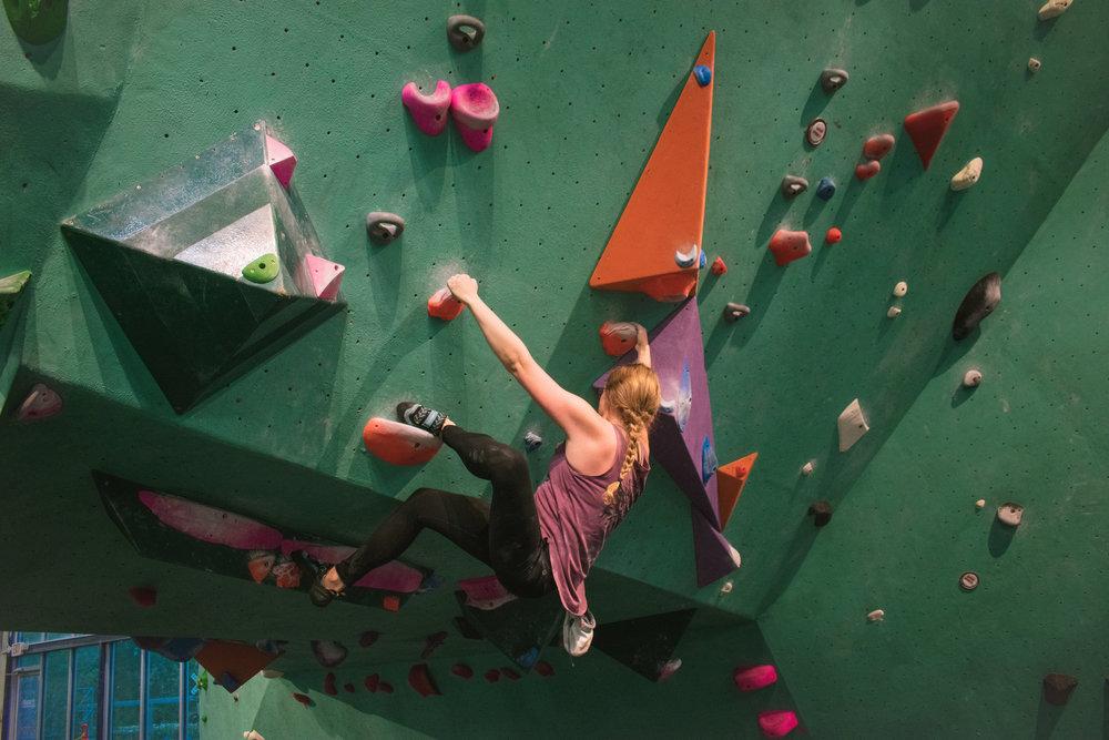 Emily Morris climbing