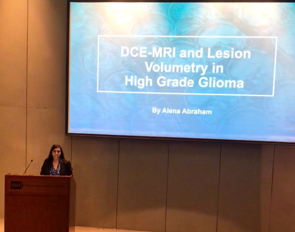 Alena Abraham   (former student and mentee currently attending university in Maryland, USA) presenting research