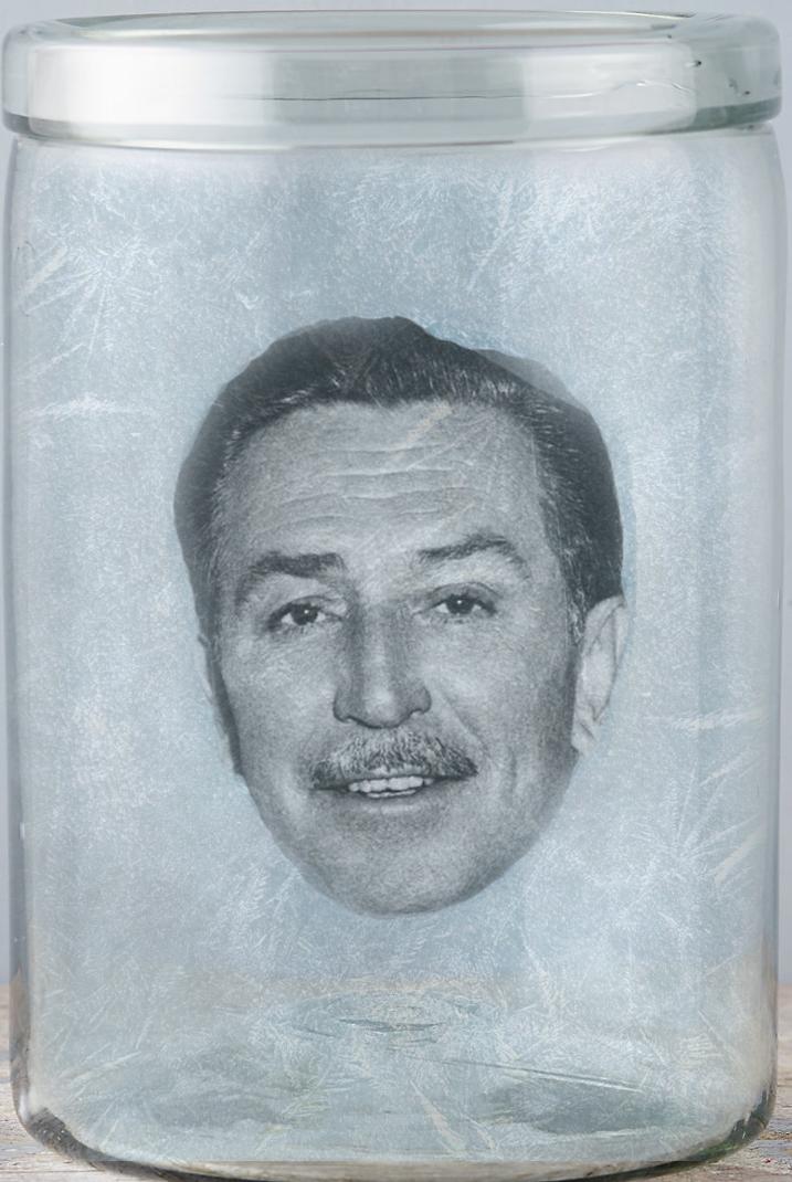 The cryogenically frozen head of Walt Disney