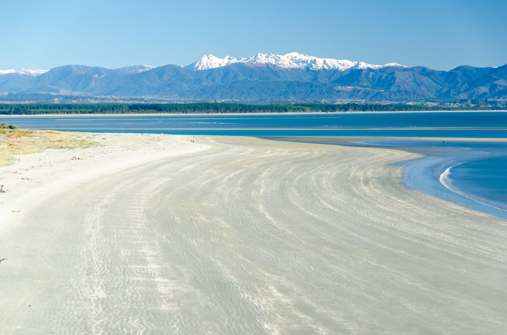 Tahunanui Beach and Mt Arthur  Nelson NZ